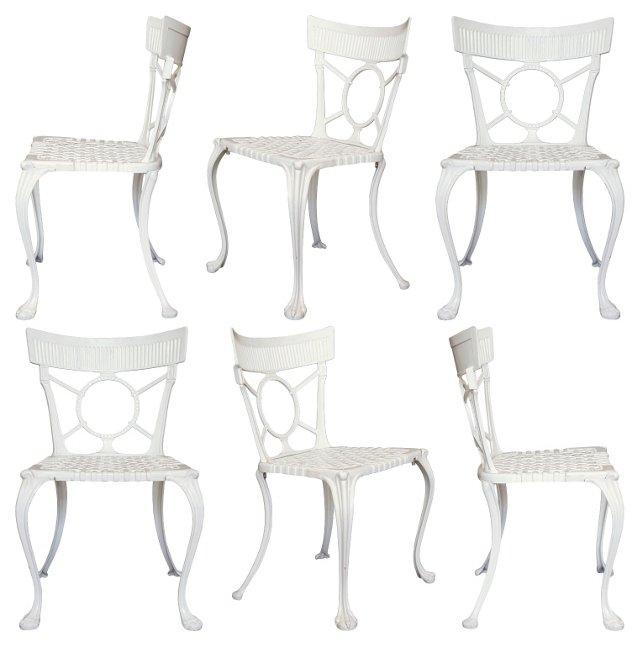 English Klismos Garden Chairs, S/6