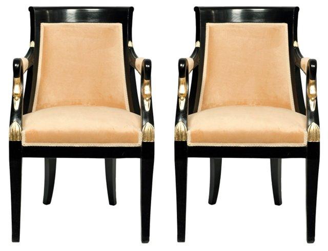 Empire-Style Ebonized Armchairs, Pair