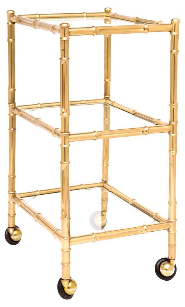 Brass & Glass 3-Tier Bar Cart