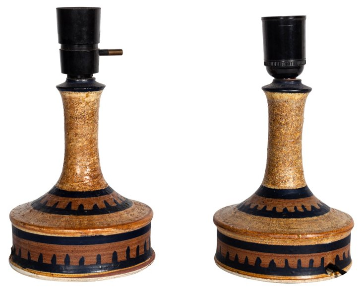 Danish Studio Pottery Lamps, Pair