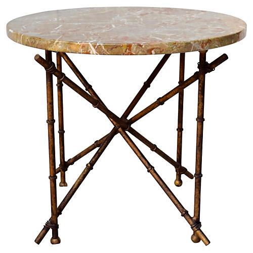 Iron Bamboo-Style & Marble Top Table