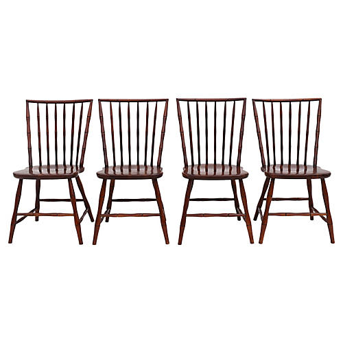 1950s Faux-Bamboo Dining Chairs, S/4