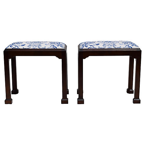 Baker Chippendale-Style Benches, Pair