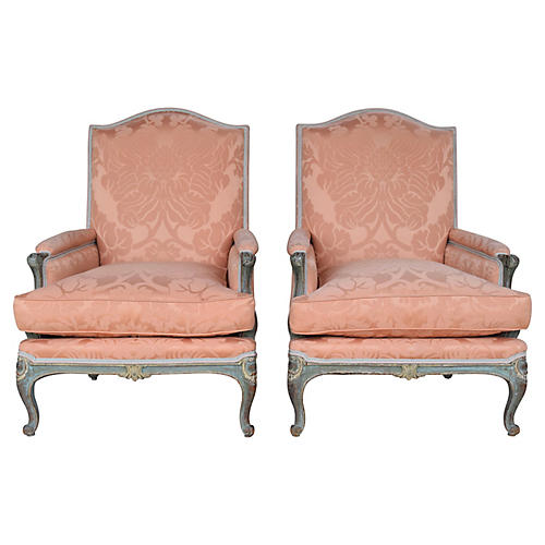 19th C. Salmon Damask Bergere Chairs