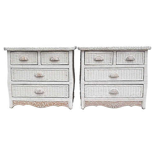 Wicker & Pine Chest of Drawers, S/2
