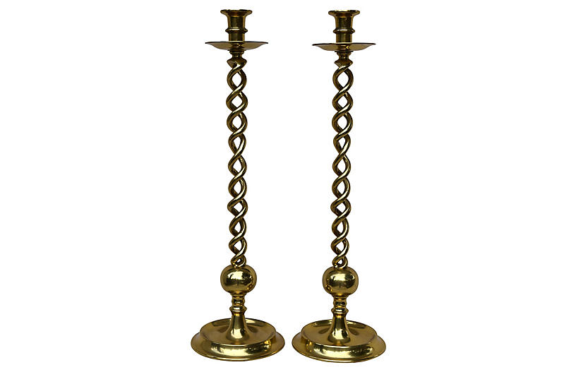 Barley-Twist Candlesticks, Pair