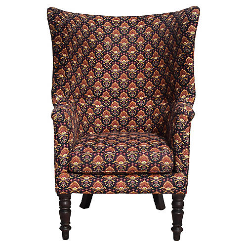 English Barrel Wingback Library Chair