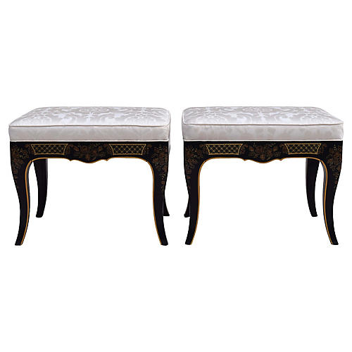 Chinoiserie Benches By Drexel, A Pair