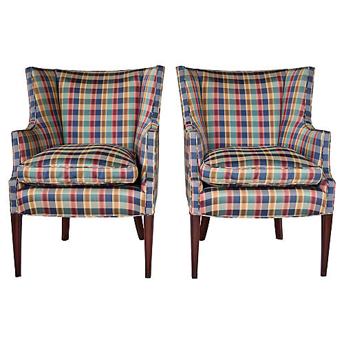 Hepplewhite Plaid Wing Chairs, Pair