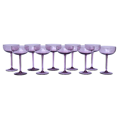 Amethyst Crystal Champagne Coupes, S/10