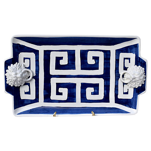 Italian Pottery Greek Key Lions Platter