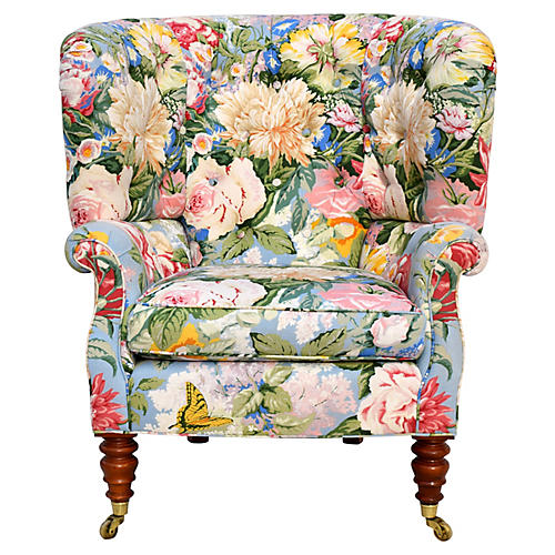 Baker Floral Tufted Wingback Chair