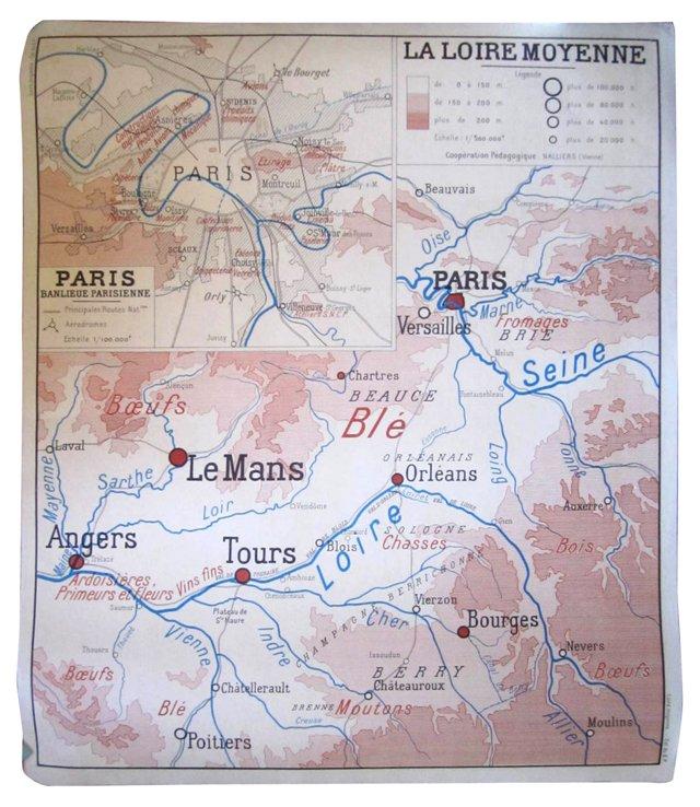 Midcentury Paris Champagne Map