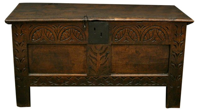 17th-C. English Transitional Coffer