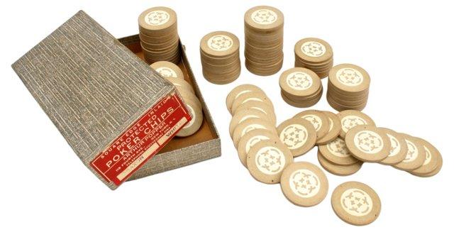 Arthur Popper Cream Poker Chips, 100 Pcs
