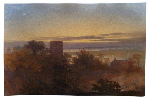 19th-C. English Abbey at Sunset