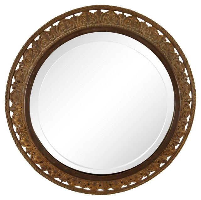 French  Round Bronze Mirror