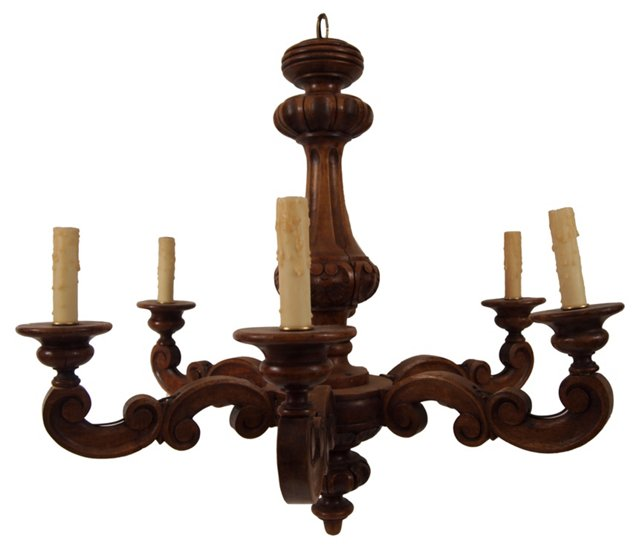 1920s French Wood Chandelier