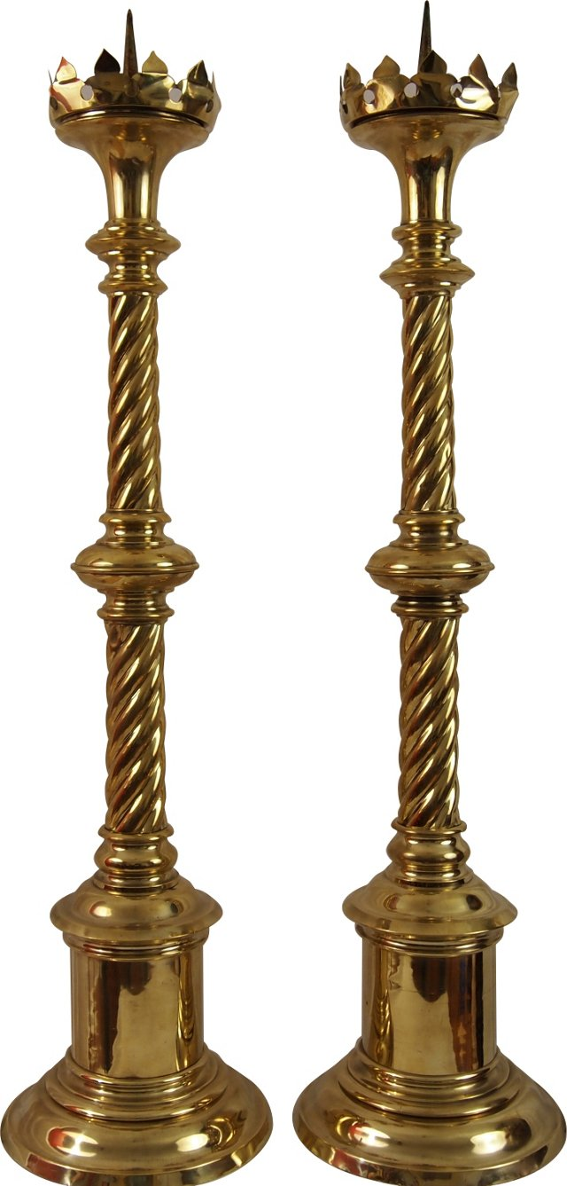 19th-C. Brass English Candlesticks, Pair
