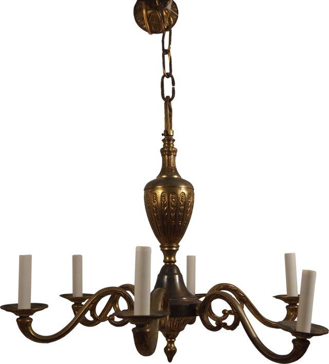 French Gilt Brass 6-Arm Chandelier