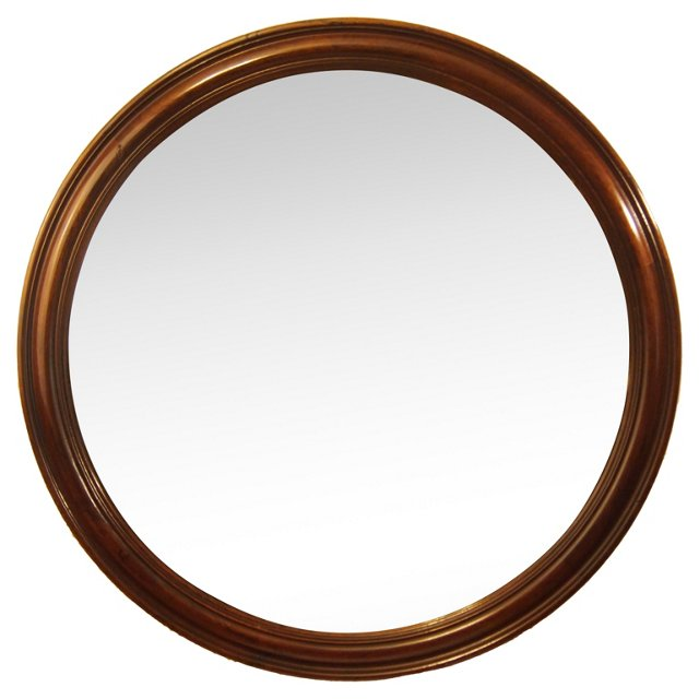 Round Walnut Frame Mirror
