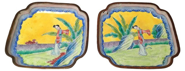 Chinese Cloisonné Trays, Pair