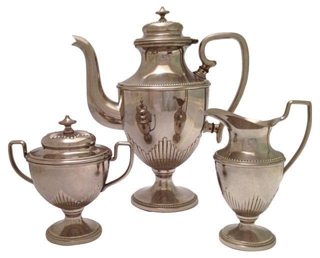 1930s  Chrome Tea Set, 3 Pcs