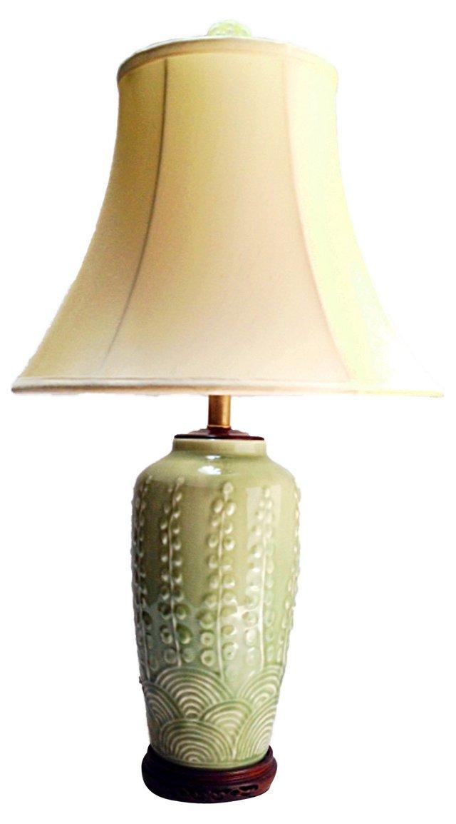 1960s Asian Lamp & Shade