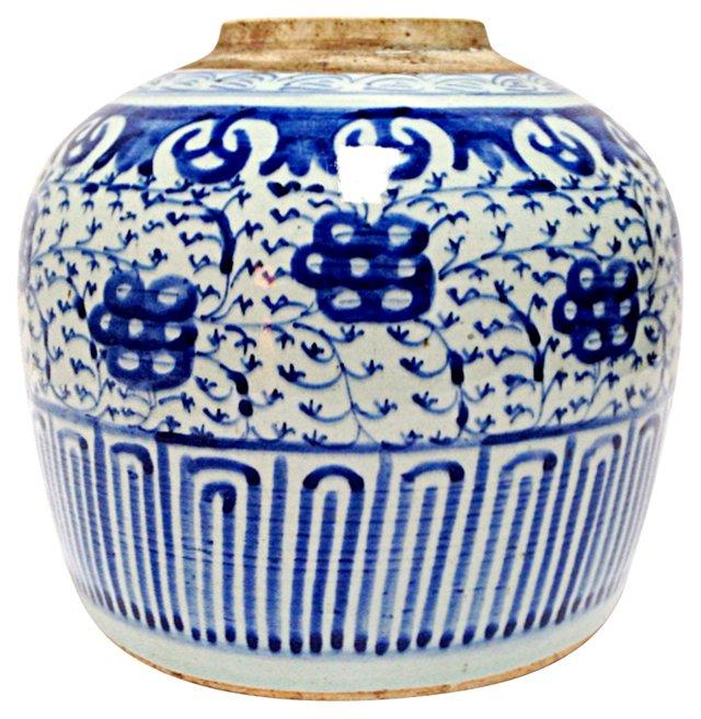 Antique Lotus Stripes Jar