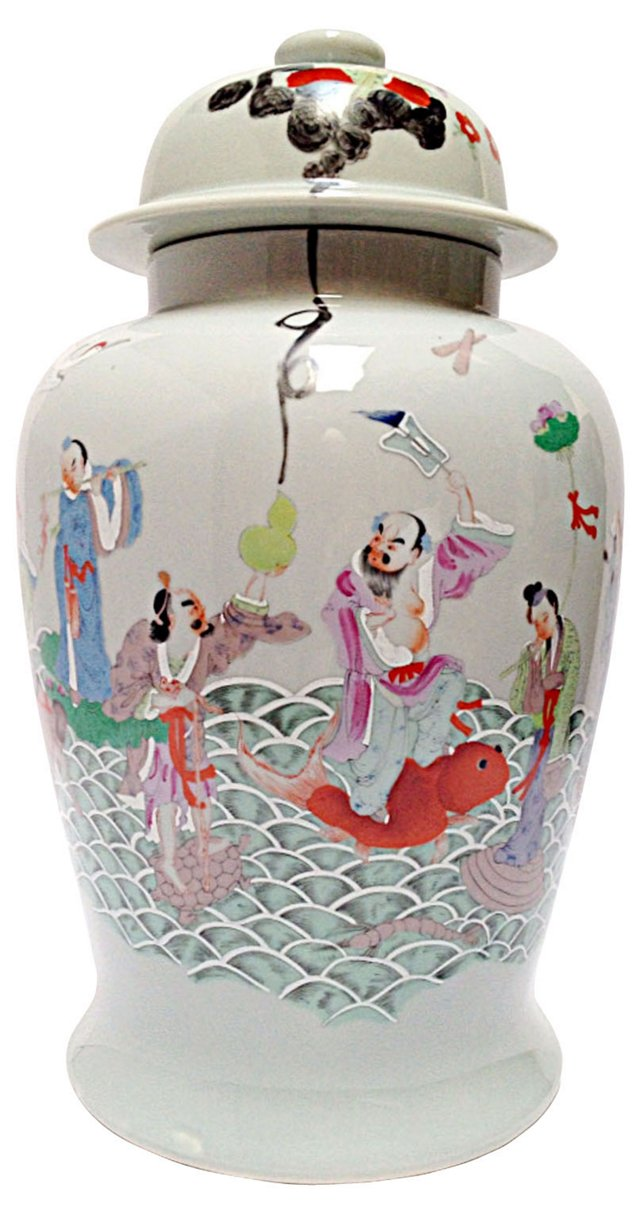 Hand-Painted Ginger Jar