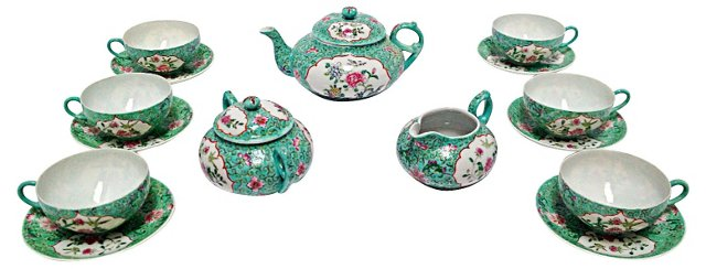 Chinese Famille Tea Set, 15 Pcs