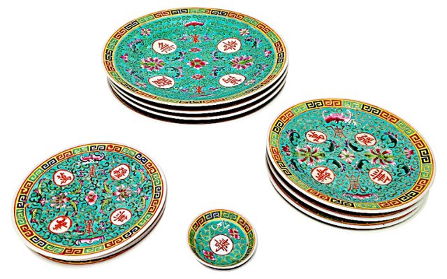 Chinese Famille Plate Set, 14 Pcs