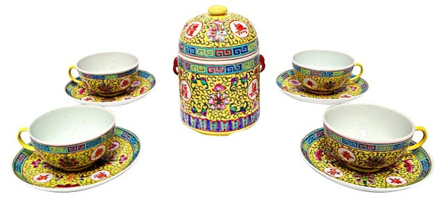 Chinese Tea Set & Canister, 9 Pcs
