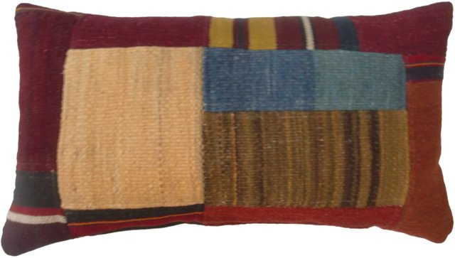 Afghani Patchwork Kilim Pillow, Burgundy