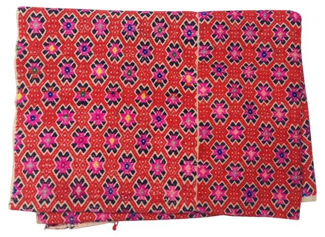 Red Embroidered  Hmong Wedding Quilt