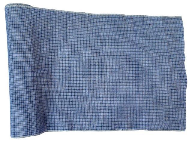 Indigo Plaid Fabric, 6.3 Yds