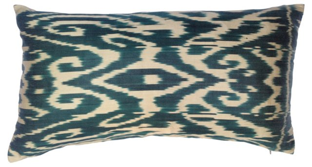 Green & White Turkish Silk Ikat Pillow