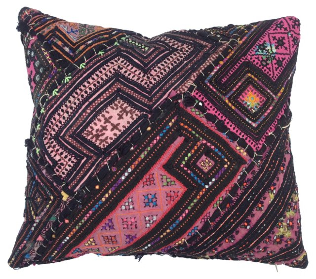 Turkish Pink Embroiderd Quilt Pillow