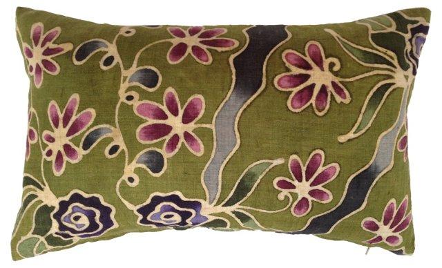 Floral Batik Linen Pillow