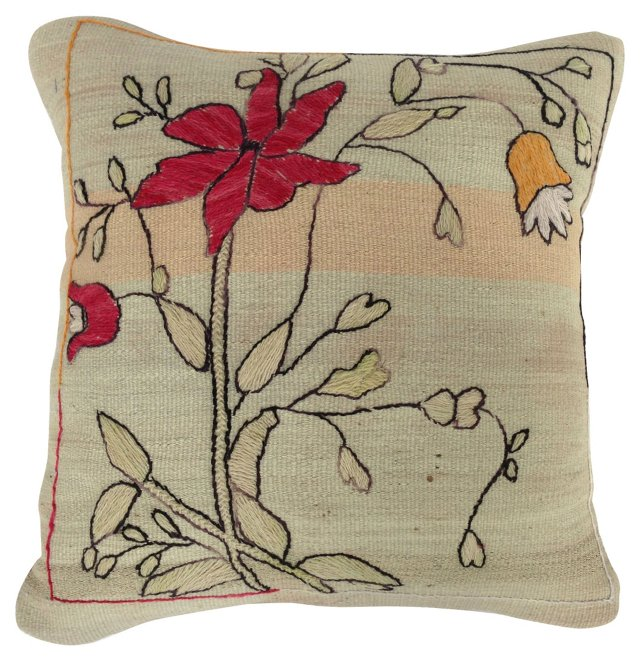 Pillow w/ Arts & Crafts Embroidery