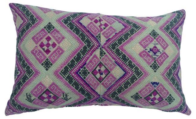 Pink Antique Tribal Quilt Pillow