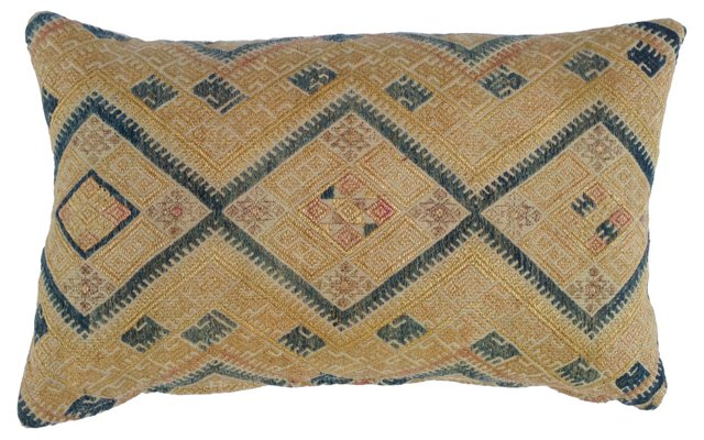 Pillow w/ Antique  Hmong Quilt