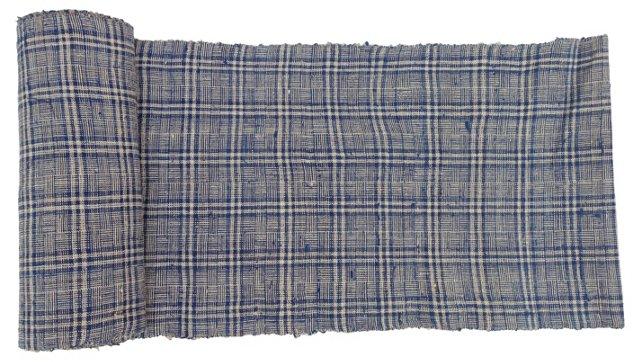 Plaid Linen Textile, 8.9 Yds