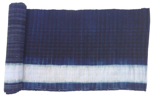 Hand-Blocked Indigo Batik, 2.4 Yds