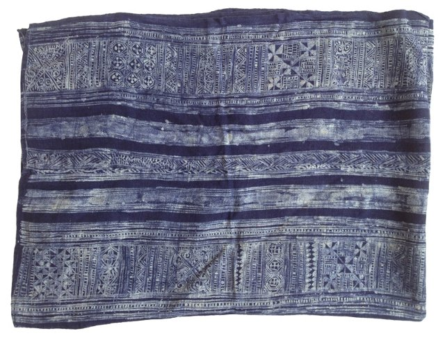Hmong Batik Linen Panel