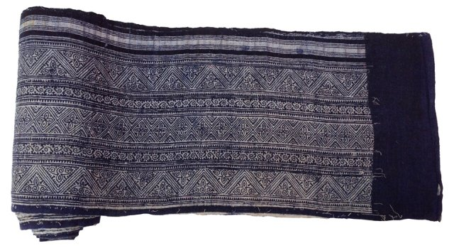 Hand-Blocked   Batik  Textile, 9.95 Yds