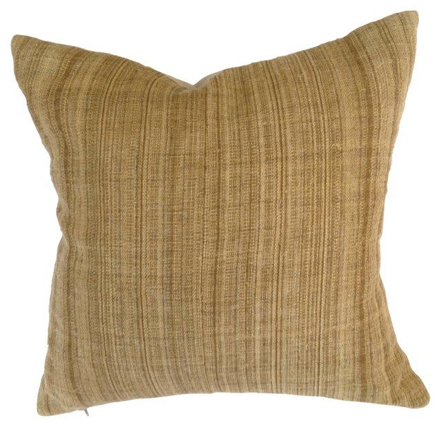 Natural Homespun Striped Linen Pillow