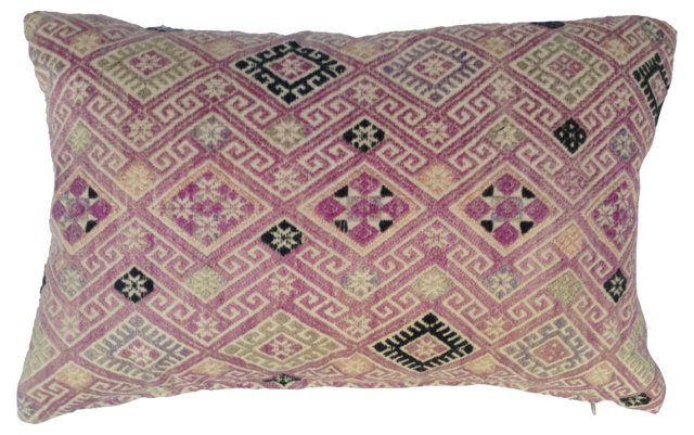 Embroidered Pink Hmong   Pillow