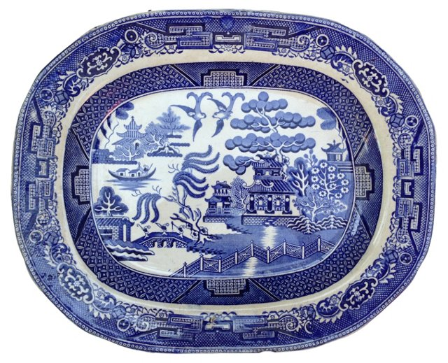 19th-C. Blue Willow Wall Platter