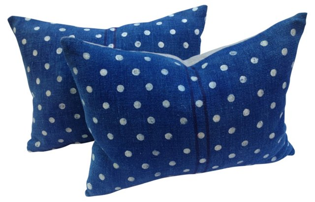 French Grainsack Dot Pillows, Pair